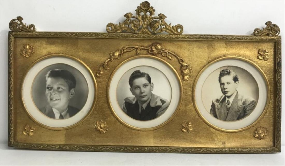 Antique Gilt 3 Picture Photo Frame