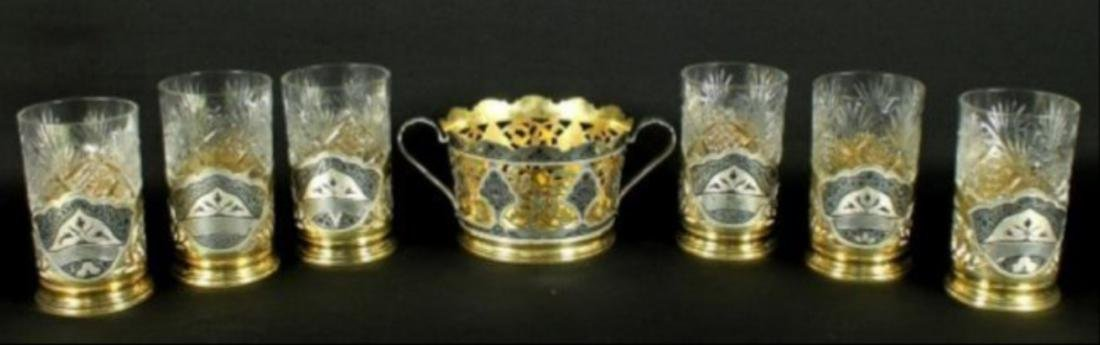 Russian Niellowork Silver & Crystal Drink 7Pc. Set