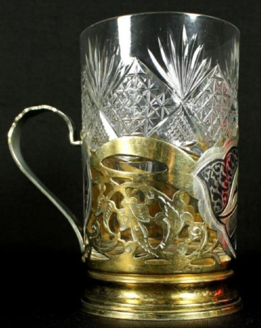 Russian Niellowork Silver & Crystal Drink 7Pc. Set - 3