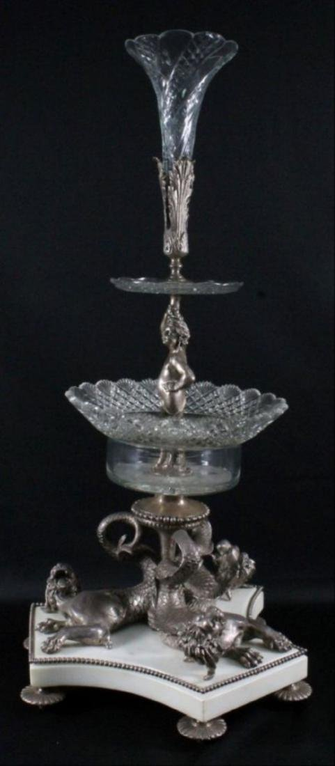 Louis Xvi Style Silvered Bronze Crystal 3 Tier Epergne