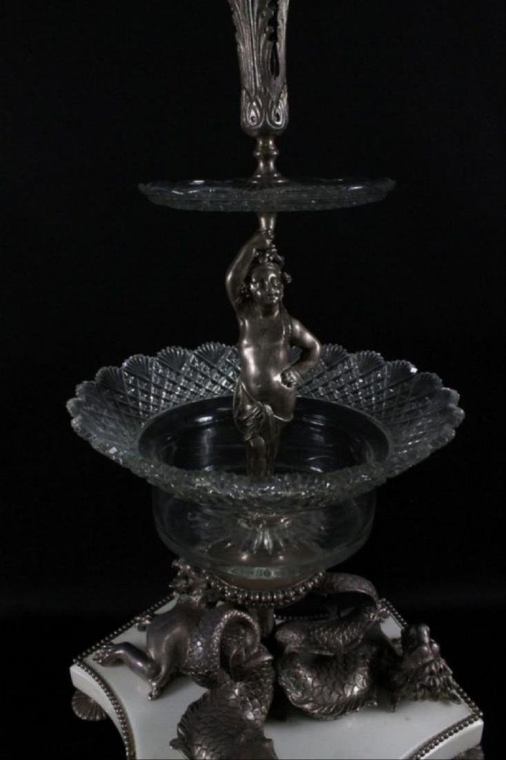 Louis Xvi Style Silvered Bronze Crystal 3 Tier Epergne - 3