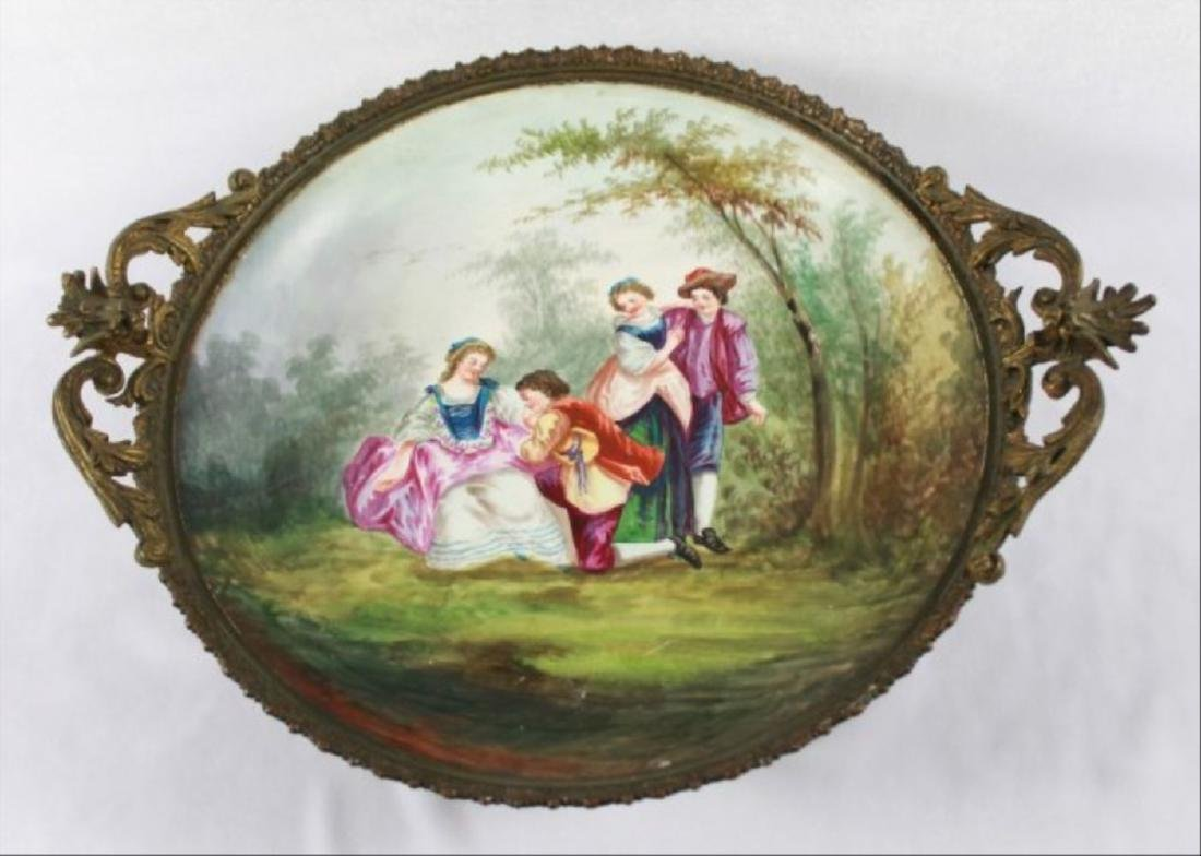 Sevres Style Tray With Handles - 3