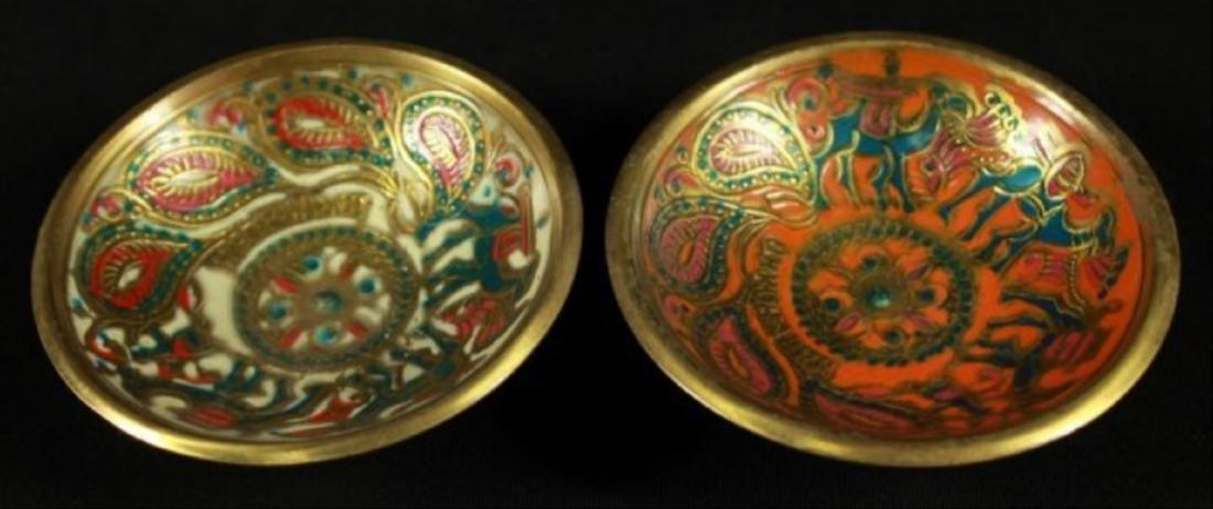 Pair Of Jerusalem Bronze And Enamel Bowls