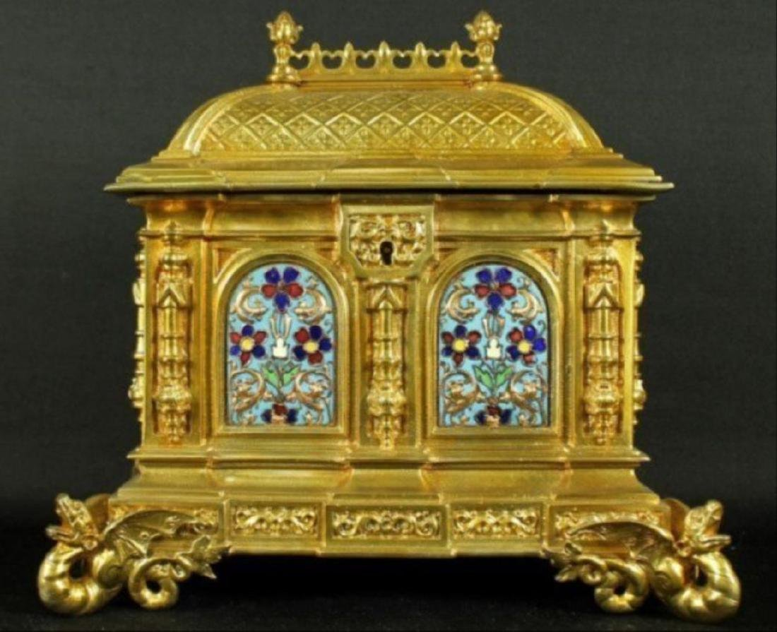 French Campleve Enamel And Bronze Box