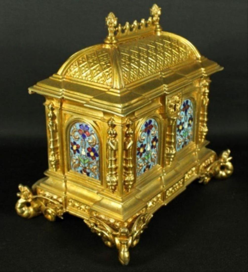 French Campleve Enamel And Bronze Box - 4