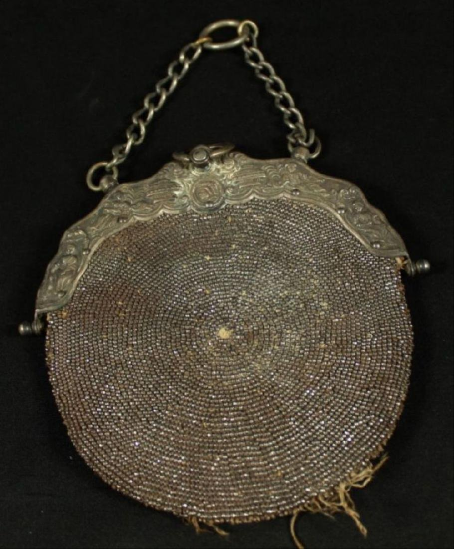 Beaded Pouch With Gilt Handle