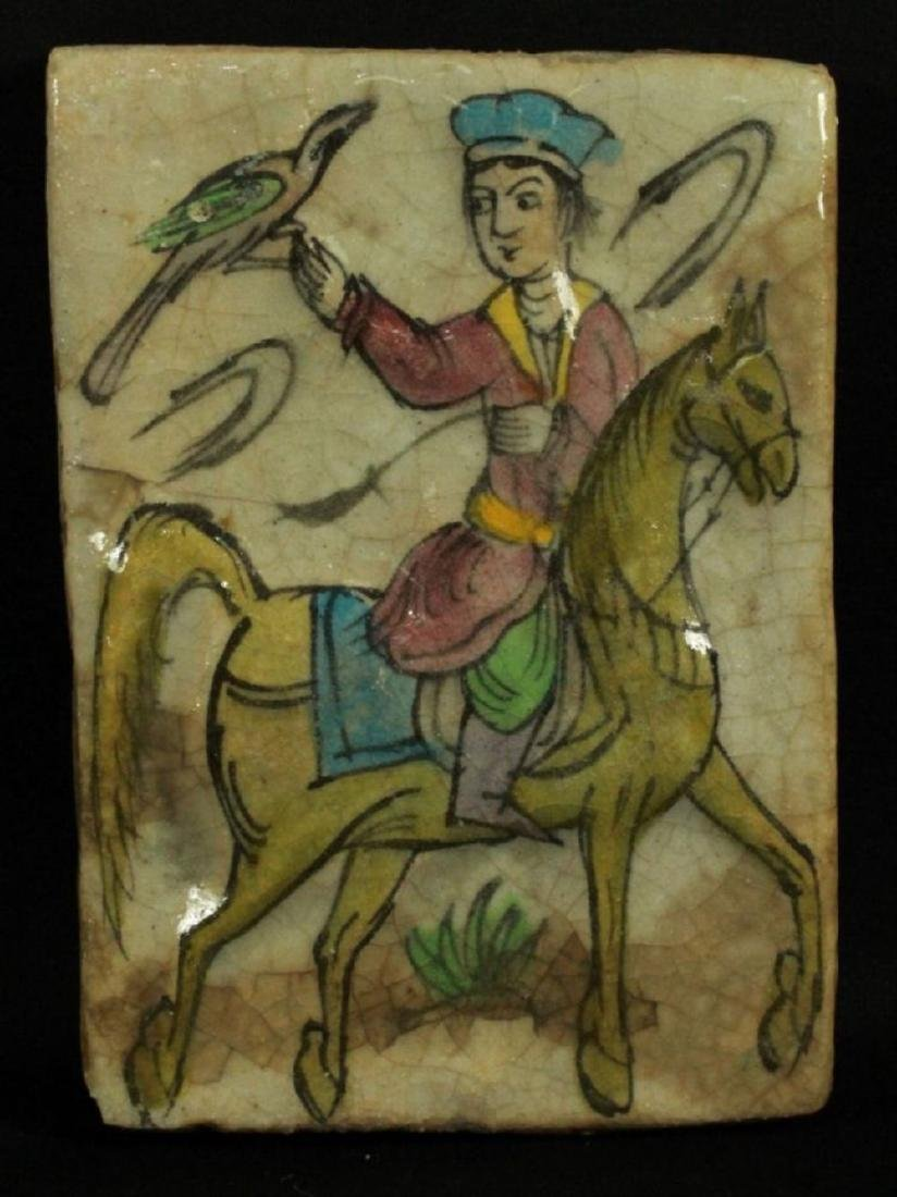 Handpainted Figure Of Man Riding The Horse On Tile