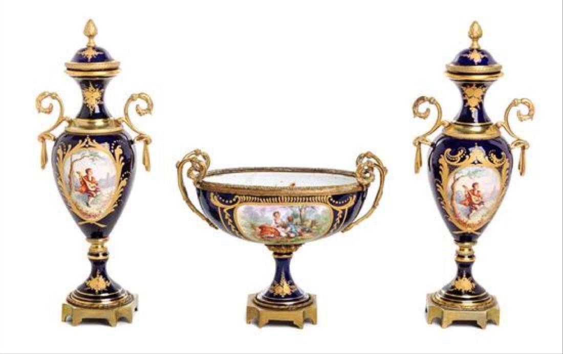 A Sevres Style Gilt Bronze Mounted Porcelain Garniture