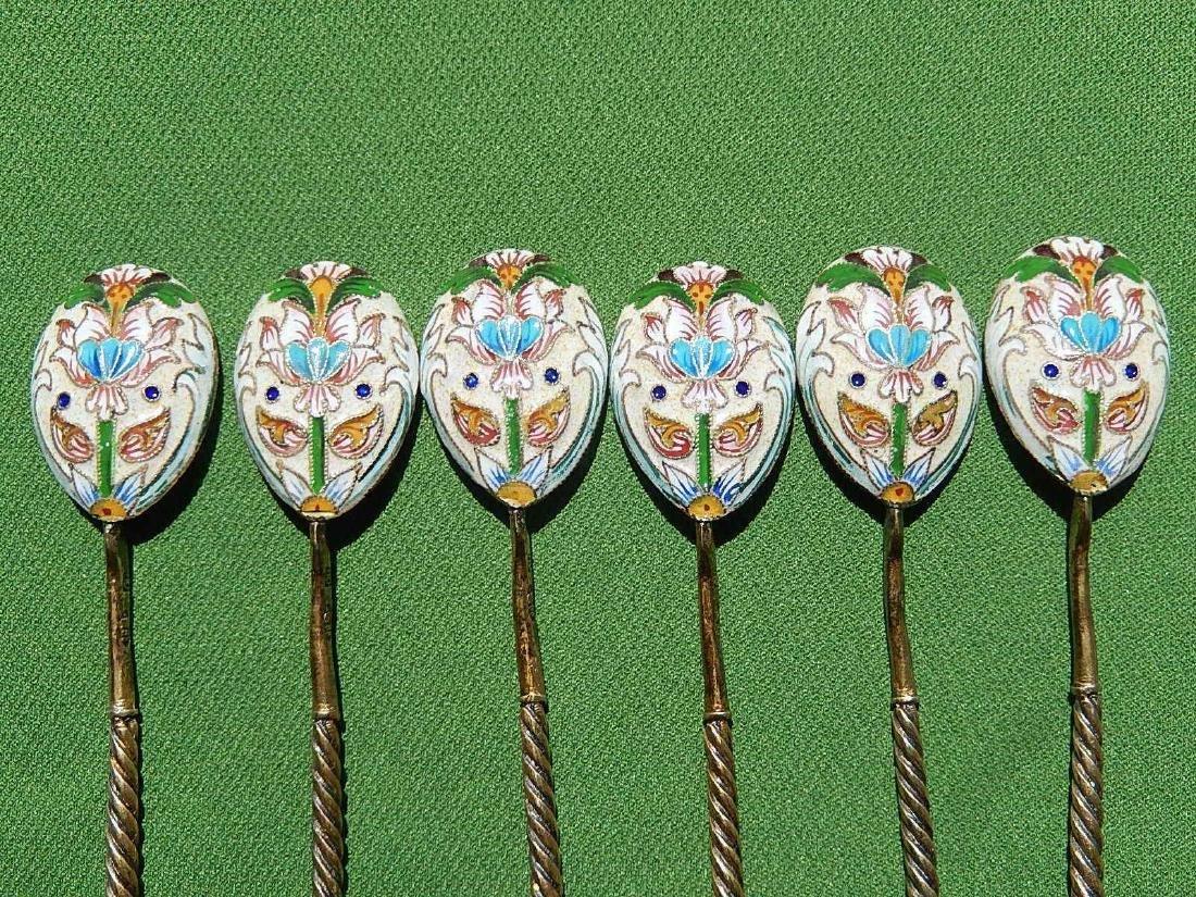 Russian Design Sterling Silver 88 Enamel Gilded Spoon - 10