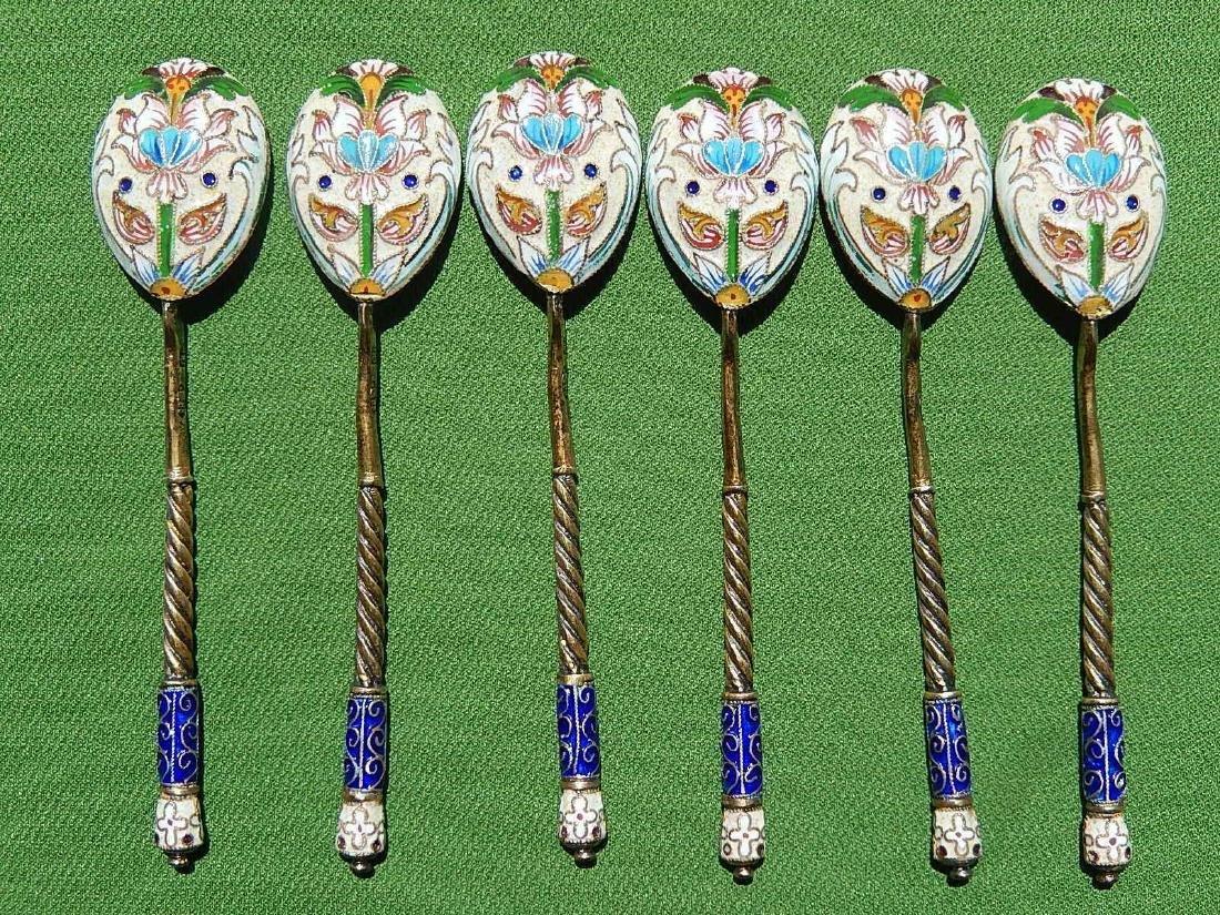 Russian Design Sterling Silver 88 Enamel Gilded Spoon