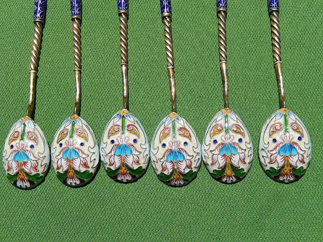 Russian Design Sterling Silver 88 Enamel Gilded Spoon - 6