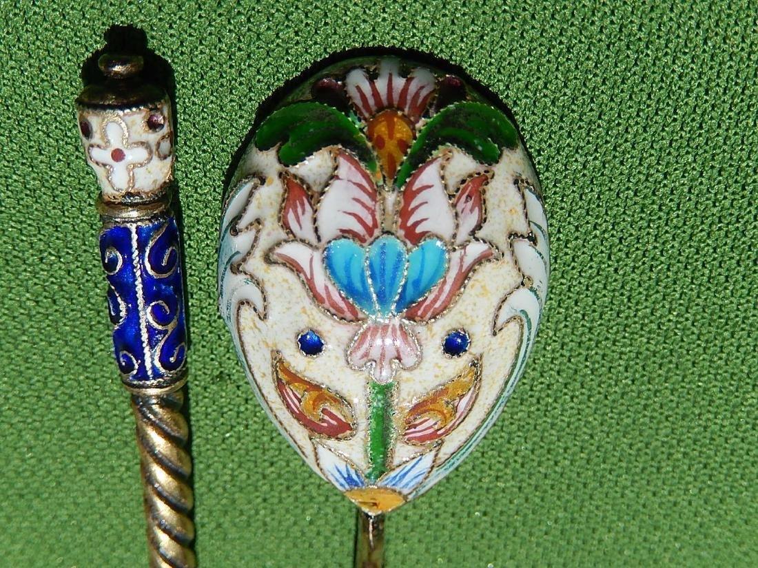 Russian Design Sterling Silver 88 Enamel Gilded Spoon - 7