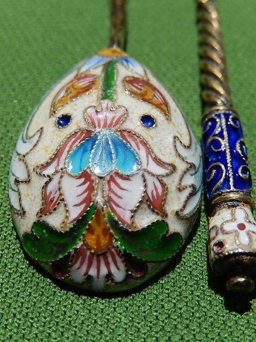 Russian Design Sterling Silver 88 Enamel Gilded Spoon - 8