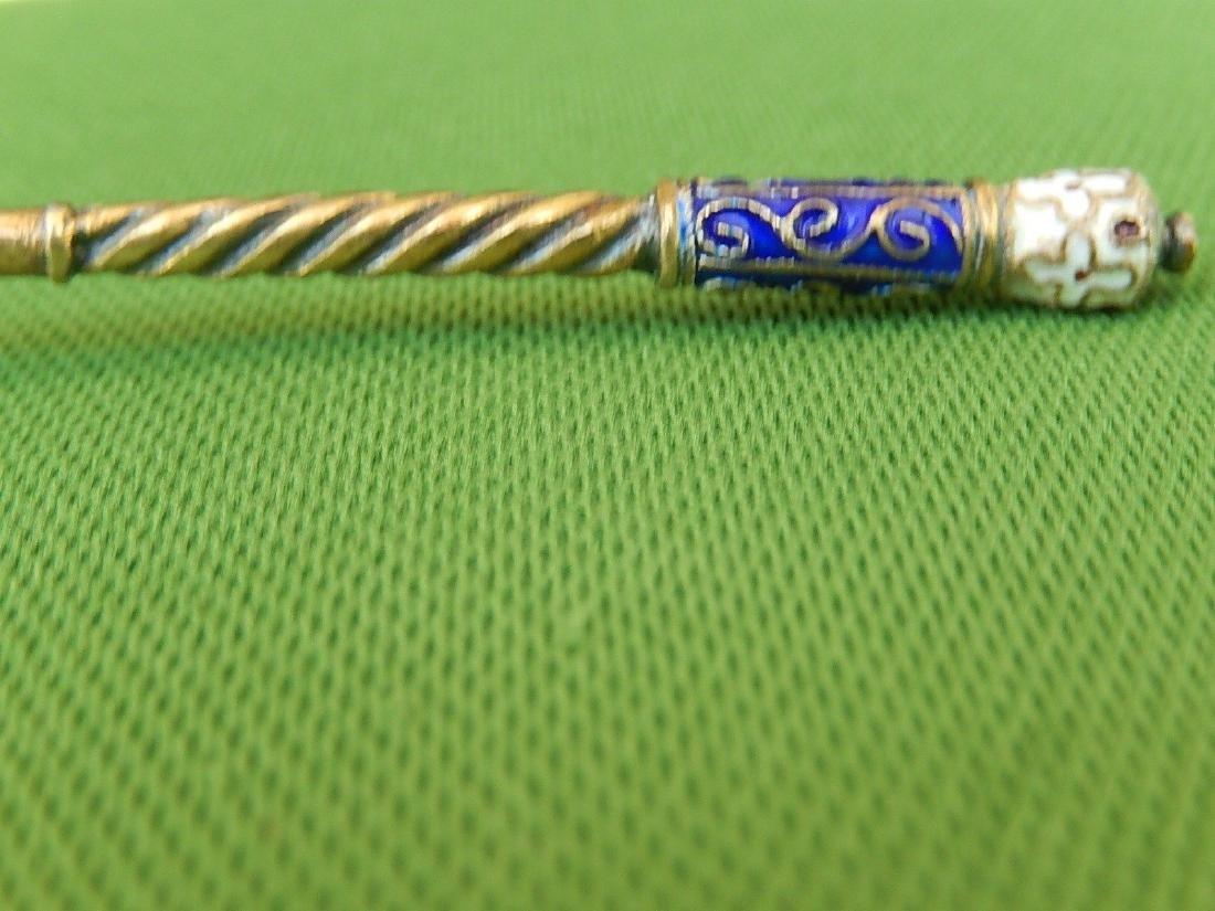 Russian Design Sterling Silver 88 Enamel Gilded Spoon - 9