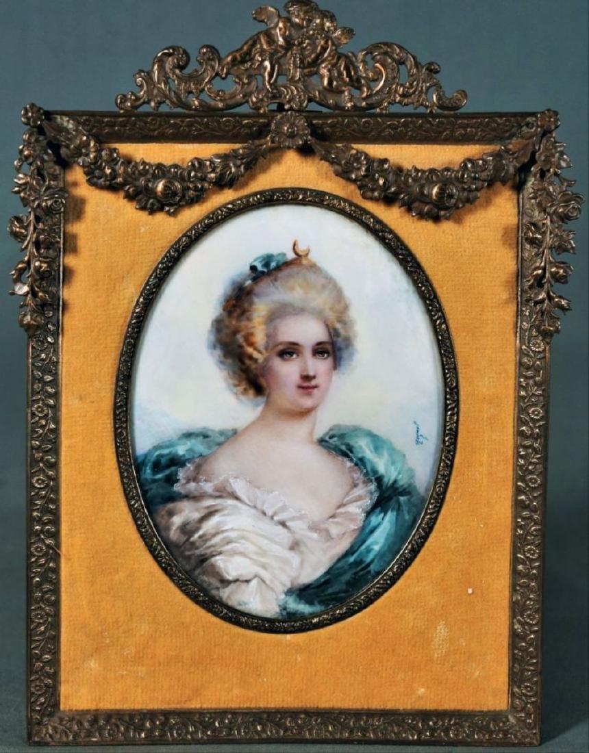Framed Porcelain Female Portrait In Louis Xvi-Style
