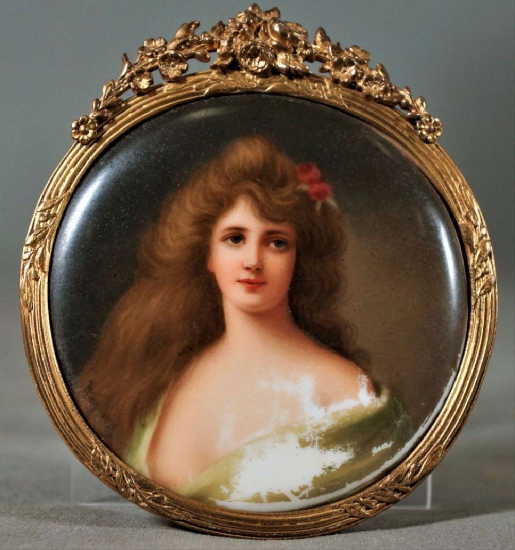 Framed Round Porcelain Female Portrait