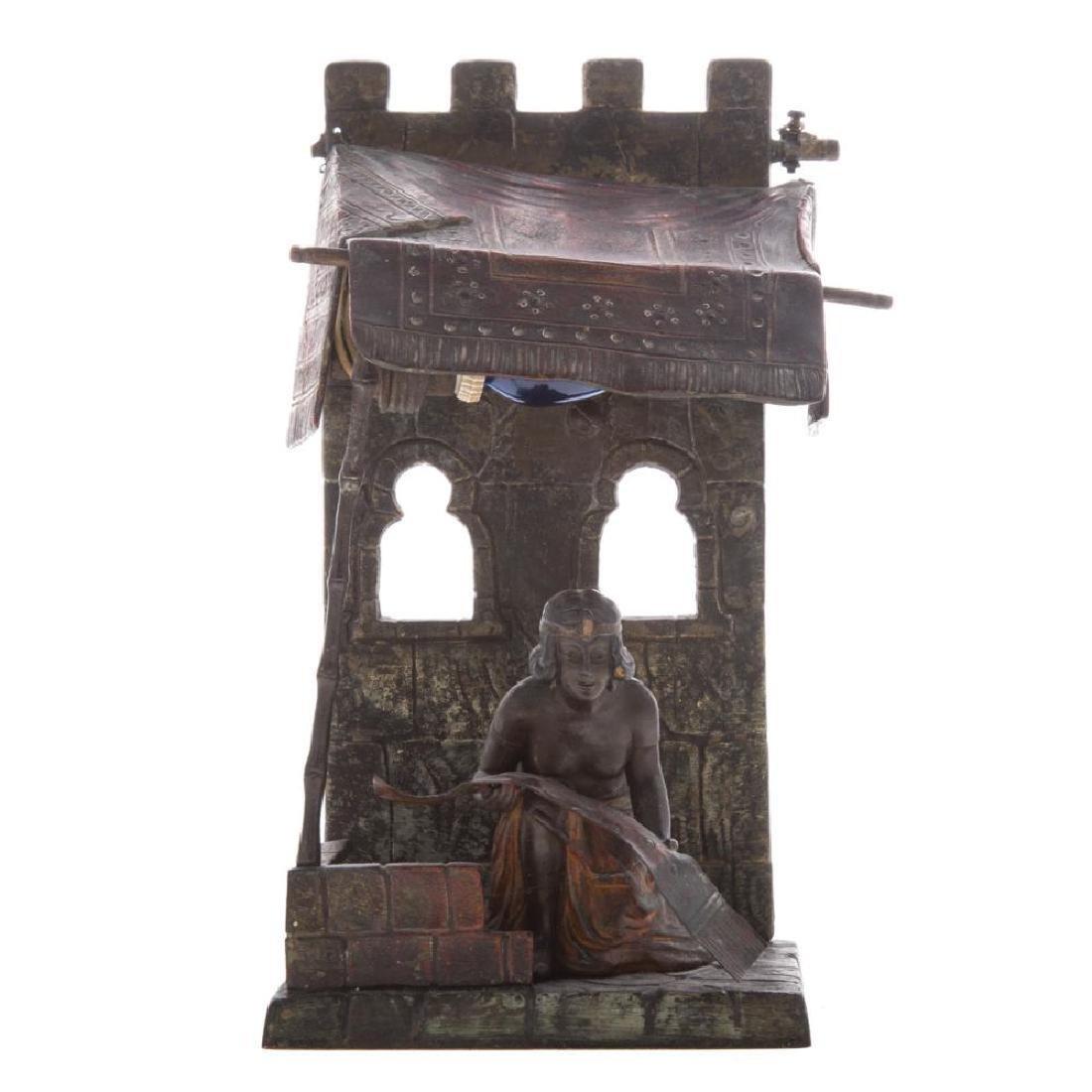 Austrian Cold Painted Bronze Figural Lamp