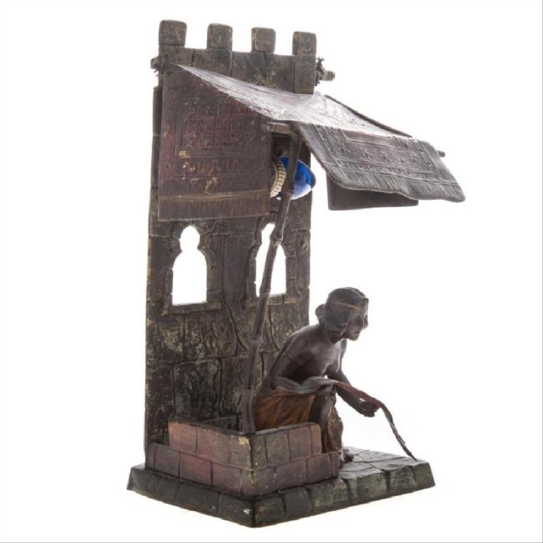 Austrian Cold Painted Bronze Figural Lamp - 3