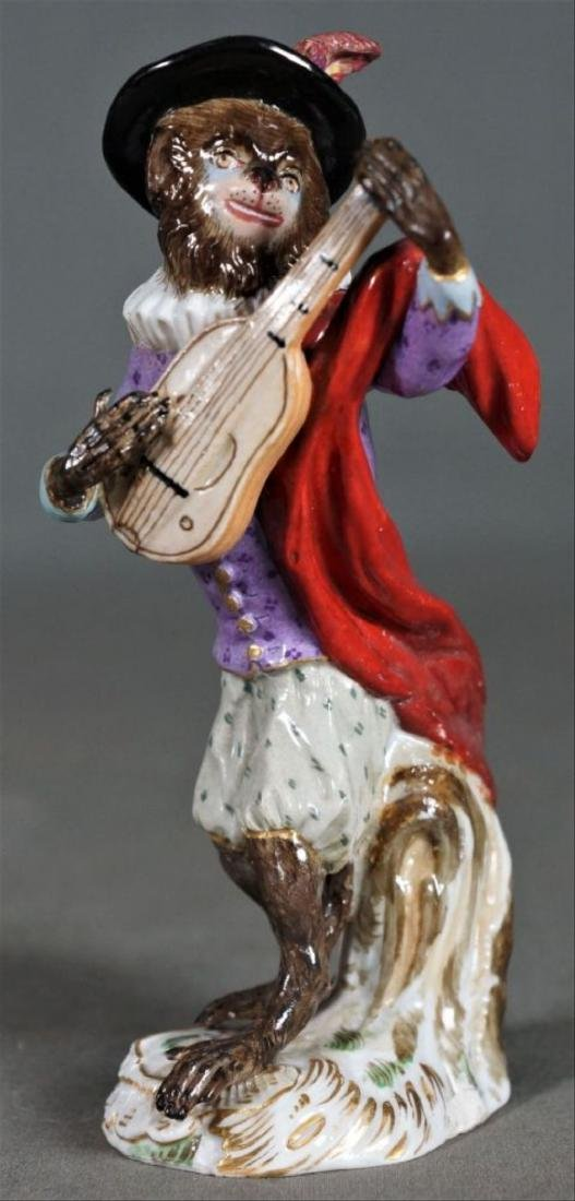 Antique Meissen Dresden Porcelain Monkey Mandolin