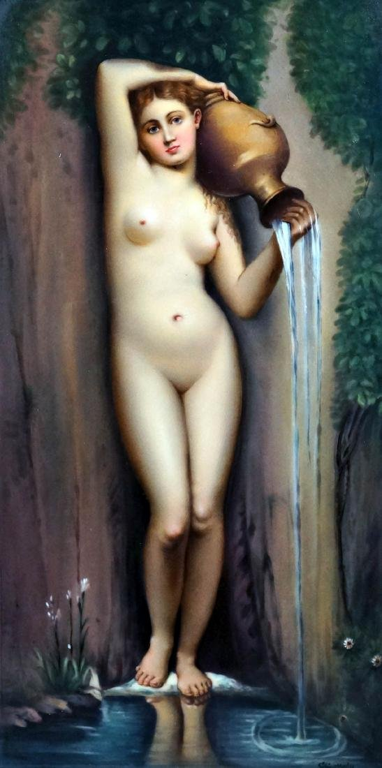 Kpm Porcelain Plaque Depicting A Classical Nude Figure