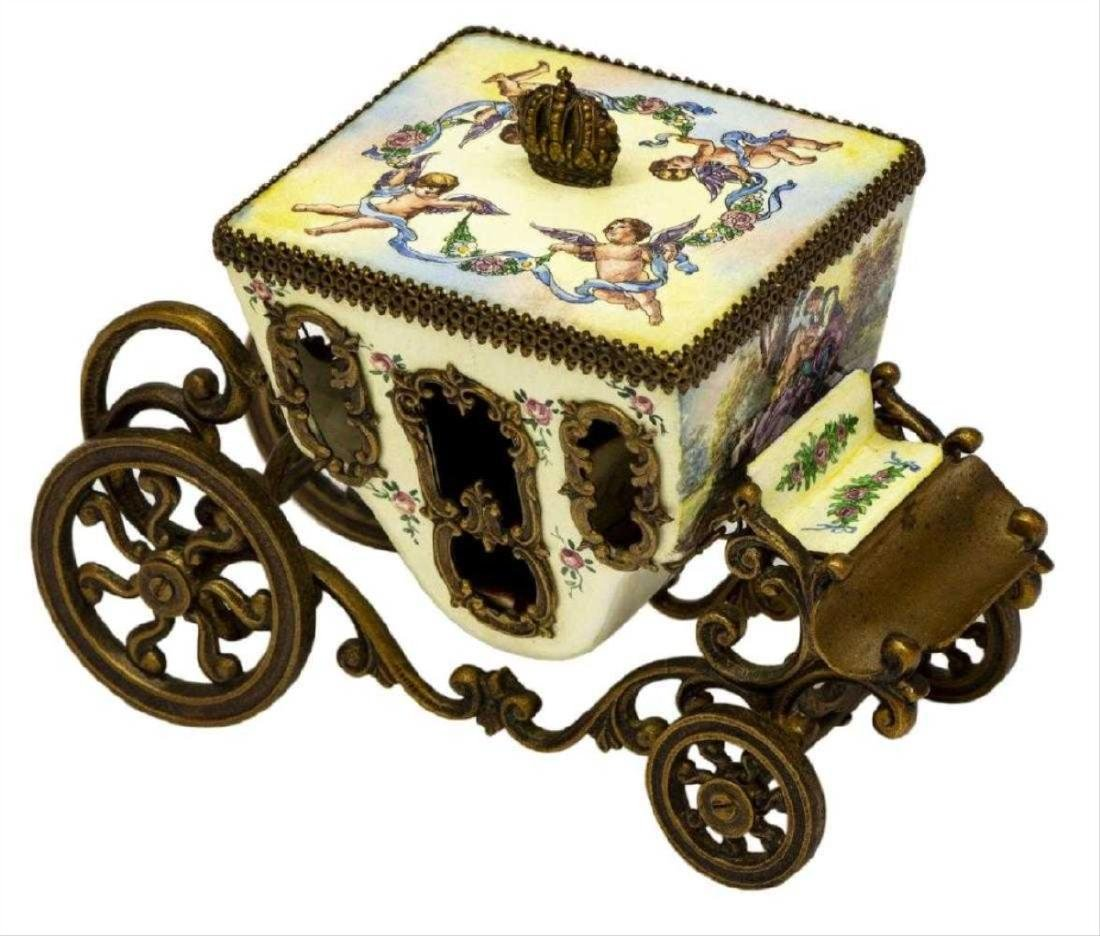 Austrian Enamel & Gilt Metal Miniature Carriage