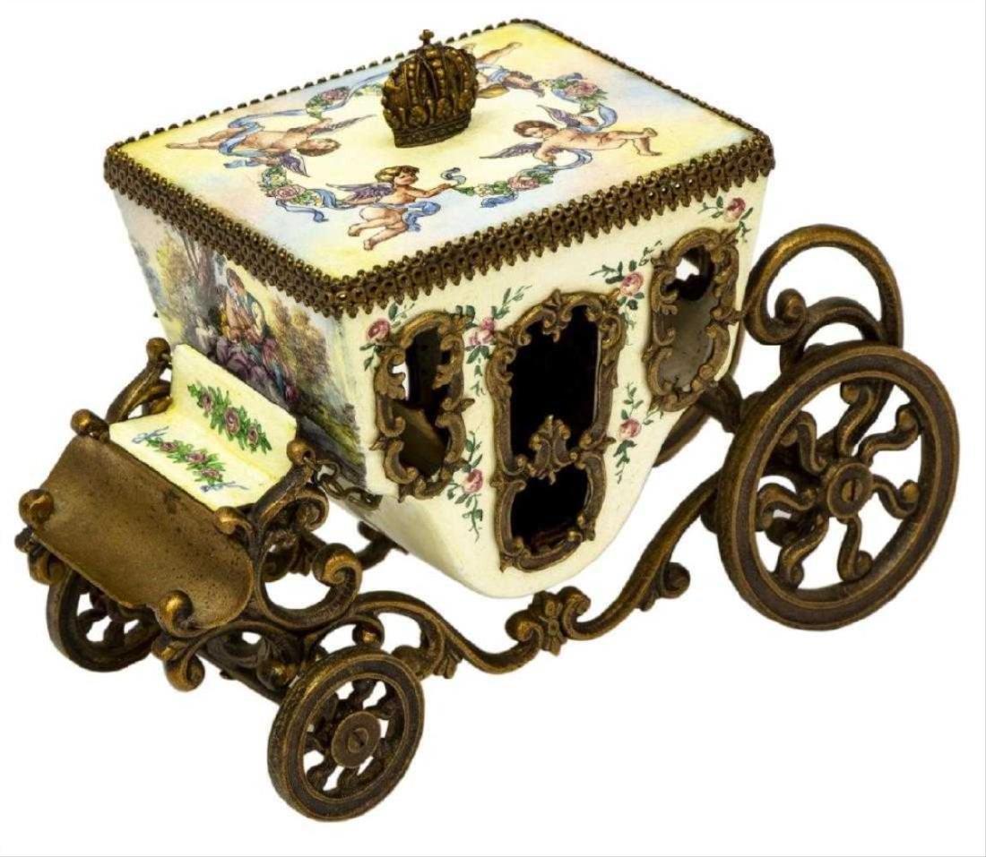 Austrian Enamel & Gilt Metal Miniature Carriage - 2