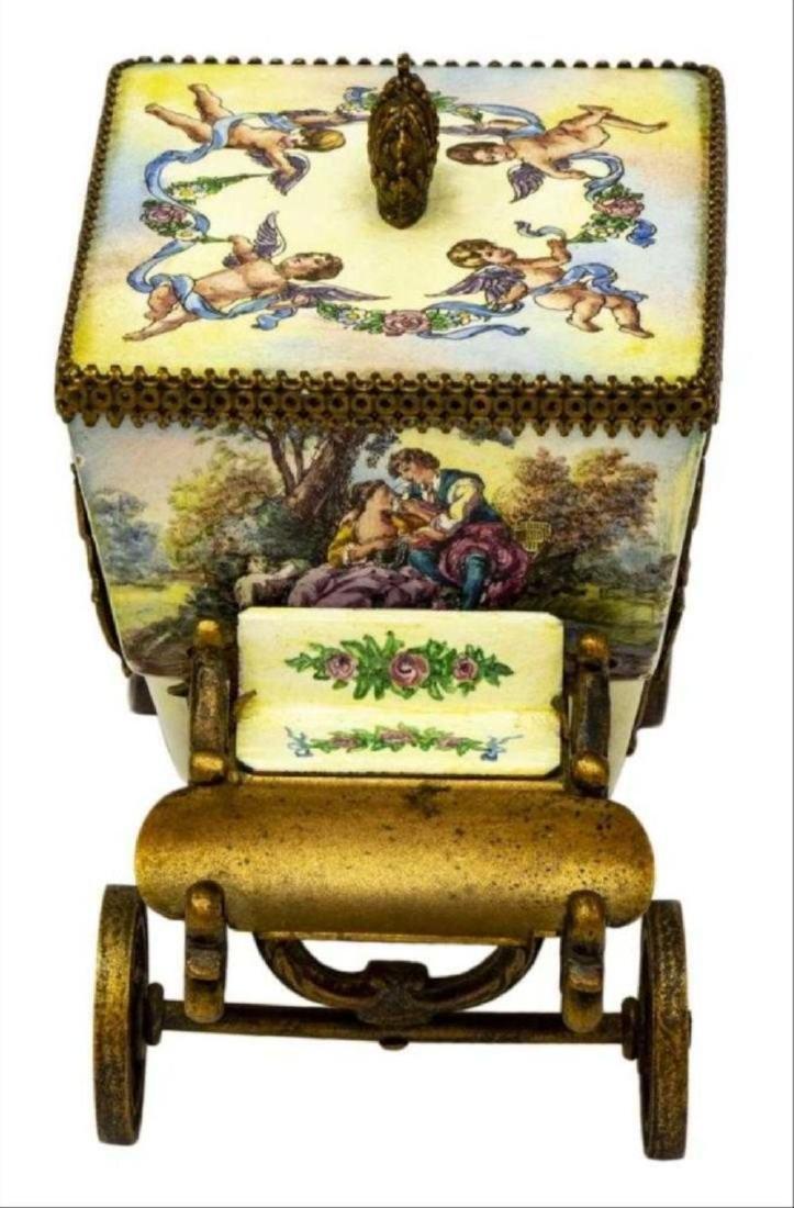 Austrian Enamel & Gilt Metal Miniature Carriage - 3