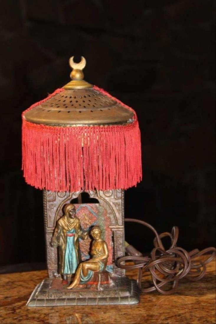 Antique Cold Painted Metal Slave Trader Lamp Vienna