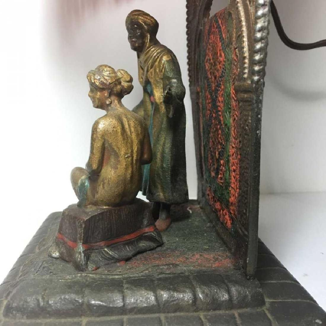 Antique Cold Painted Metal Slave Trader Lamp Vienna - 5