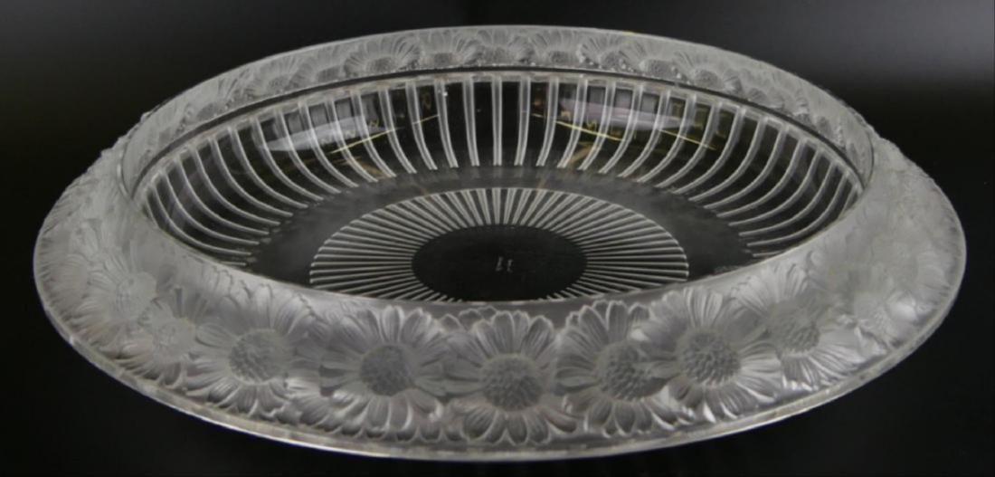 "Lalique Crystal ""Marguerite"" Wide Centerpiece Bowl"