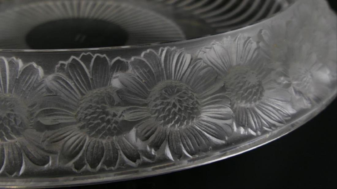 "Lalique Crystal ""Marguerite"" Wide Centerpiece Bowl - 3"