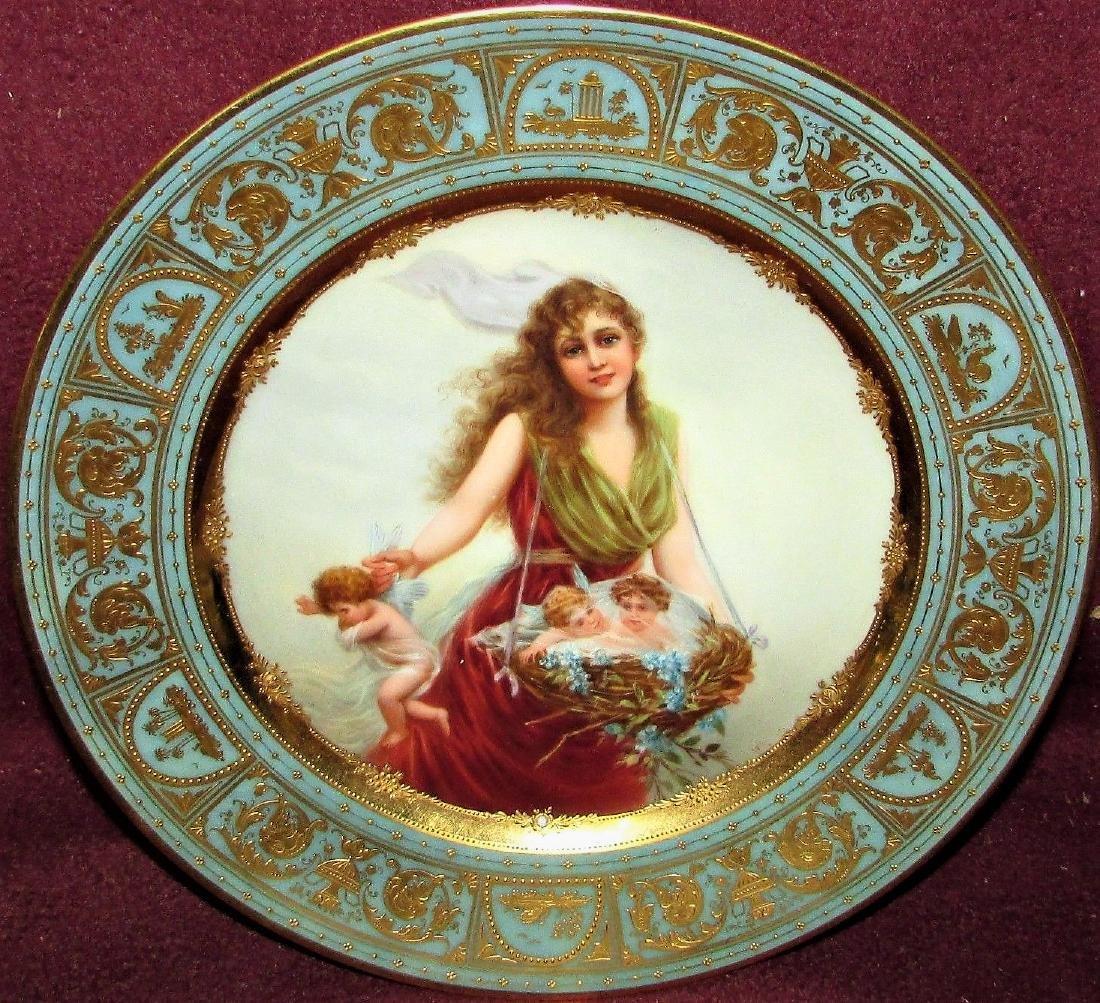 Antique Royal Porcelain Cabinet Plate Vienna Portrait