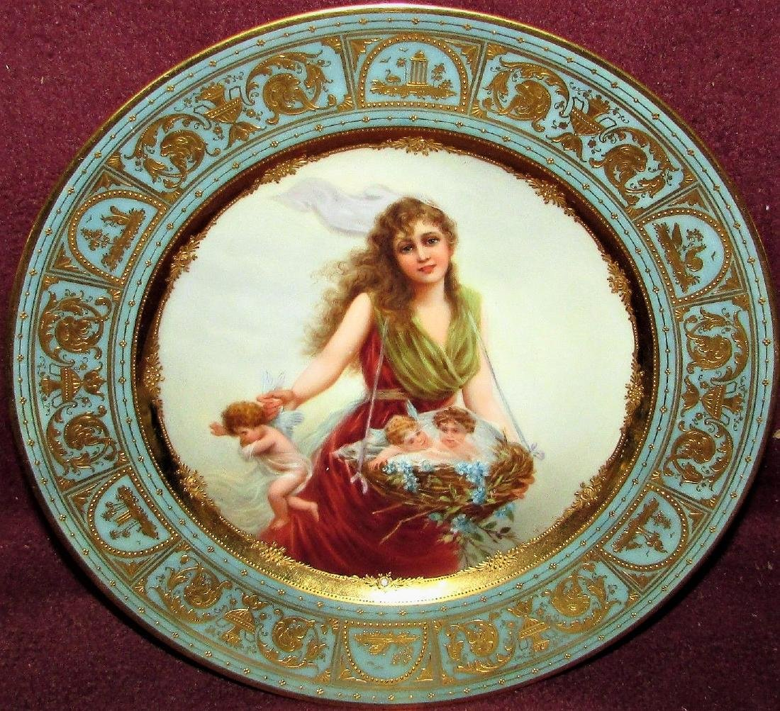 Antique Royal Porcelain Cabinet Plate Vienna Portrait