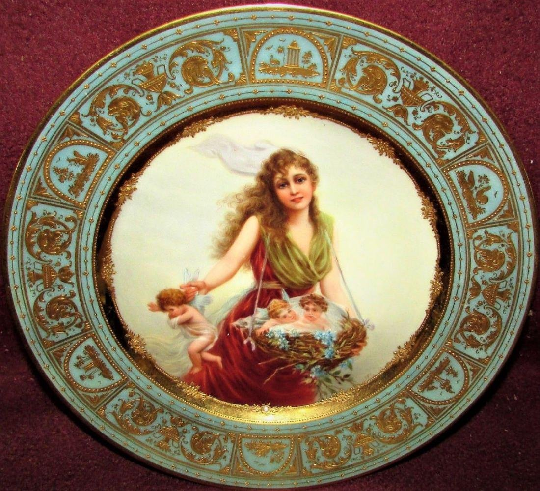Antique Royal Porcelain Cabinet Plate Vienna Portrait - 2