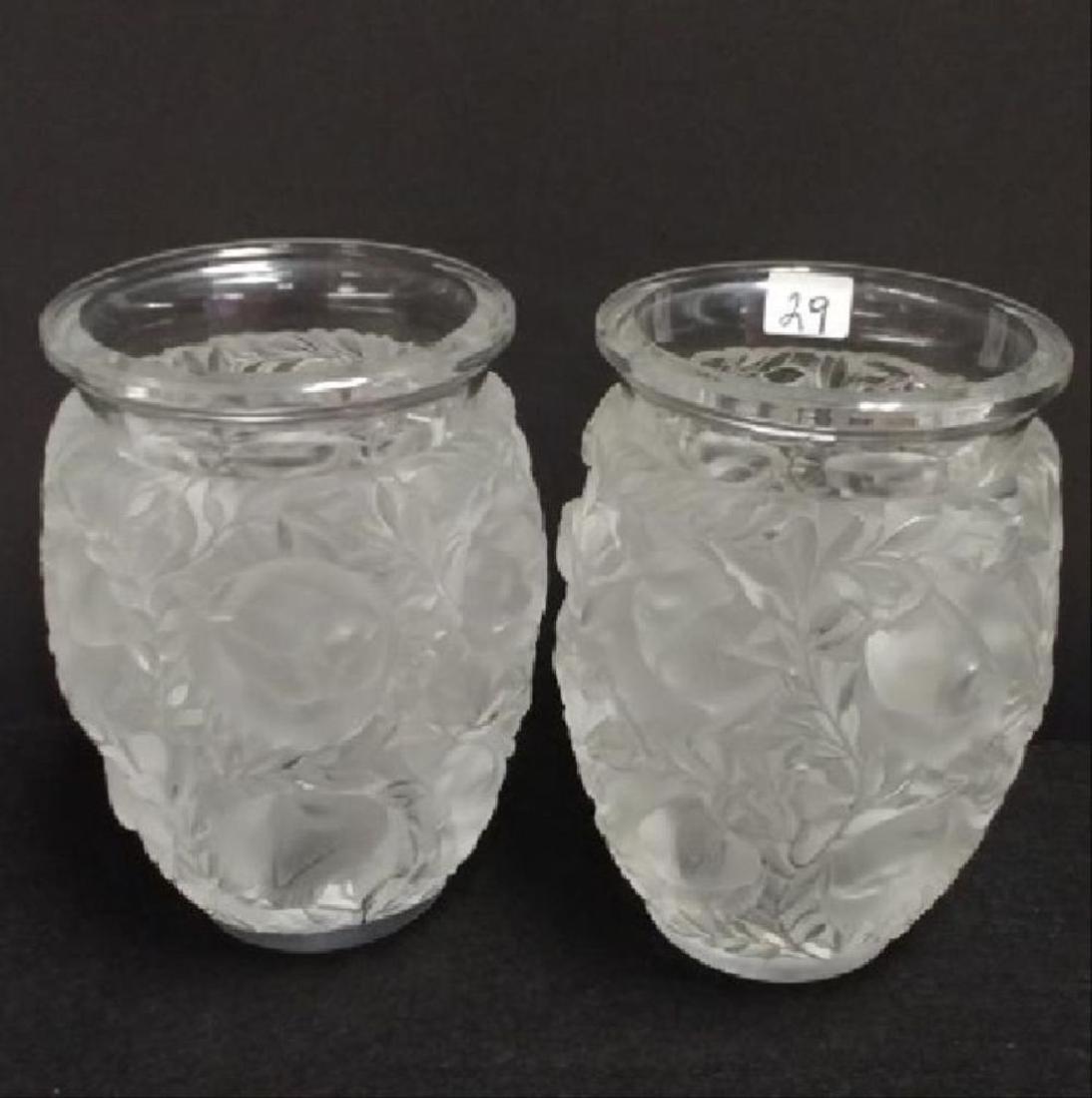 Pair Of Lalique Bird Decorated Vases