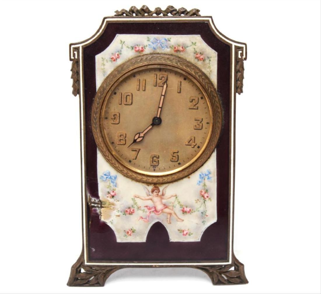 Continental Edwardian Enameled Bronze Ladies Clock