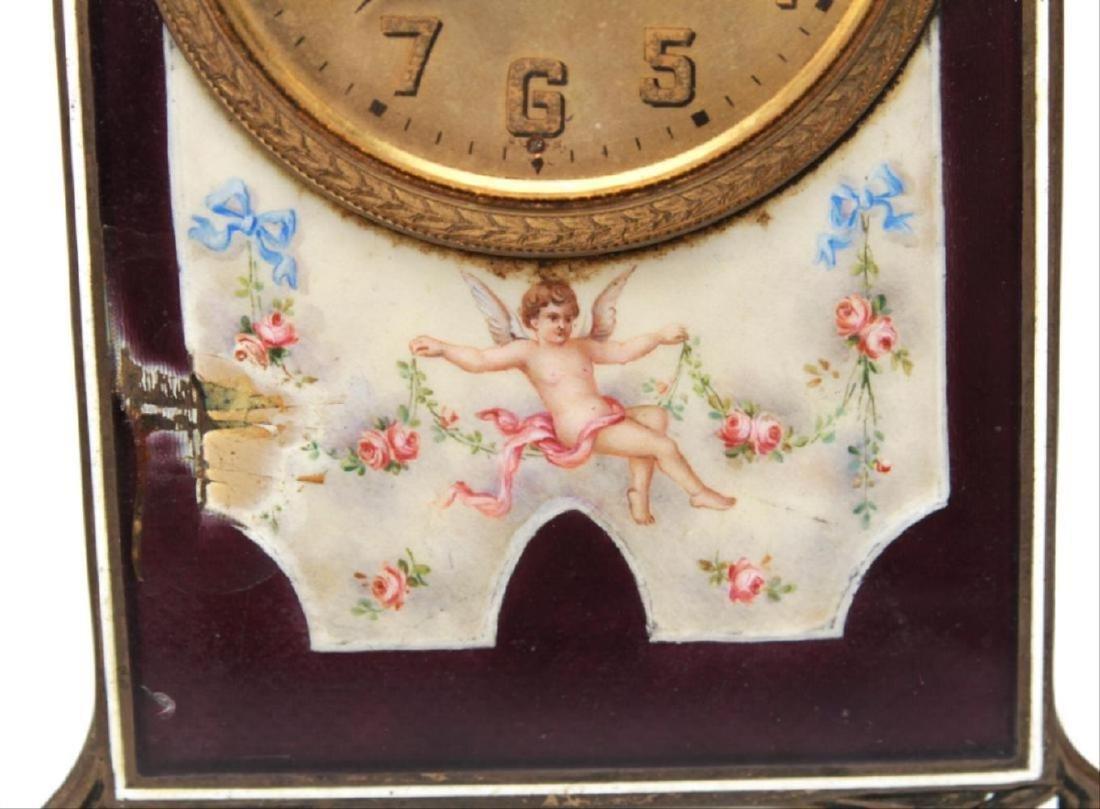 Continental Edwardian Enameled Bronze Ladies Clock - 2