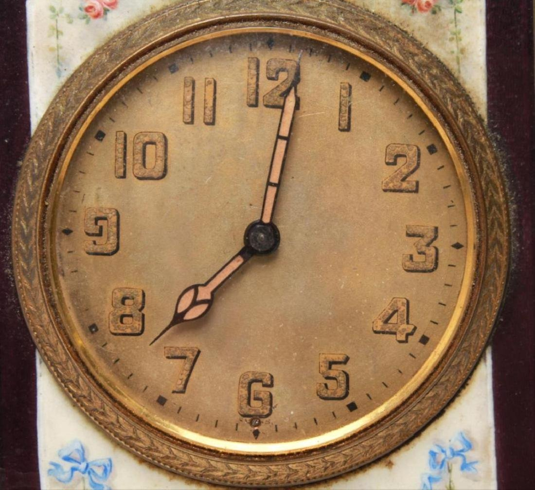 Continental Edwardian Enameled Bronze Ladies Clock - 3