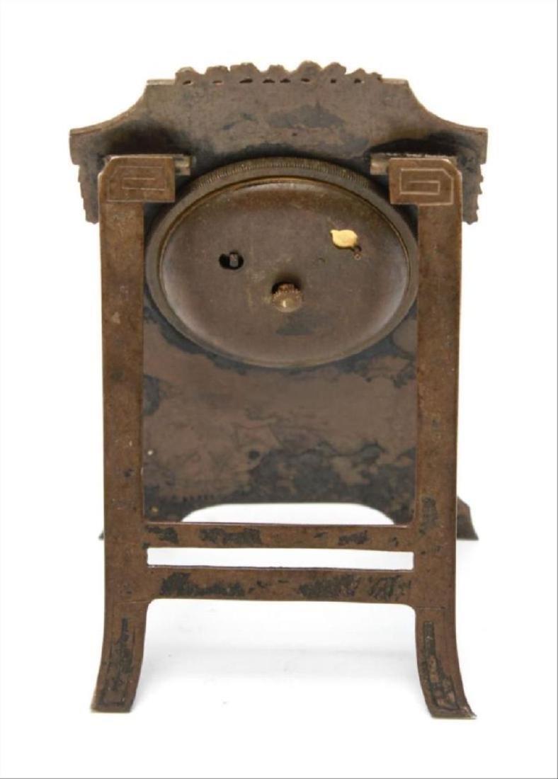 Continental Edwardian Enameled Bronze Ladies Clock - 5