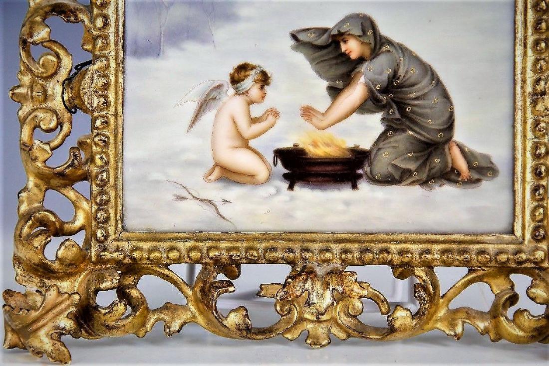Antique 19Th C. Kpm Hand Painted Porcelain Tile Plaque - 3