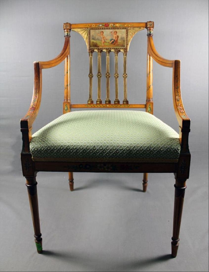 """Painted Adam Style Armchair 34 7/8"""" 22 1/2"""" 18 3/4"""""""