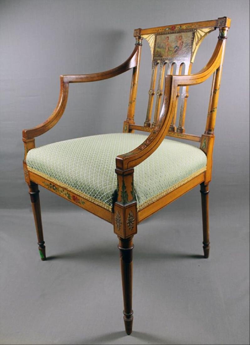 """Painted Adam Style Armchair 34 7/8"""" 22 1/2"""" 18 3/4"""" - 2"""