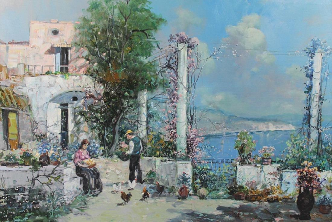 Oil On Canvas Coastal Cityscape - 7