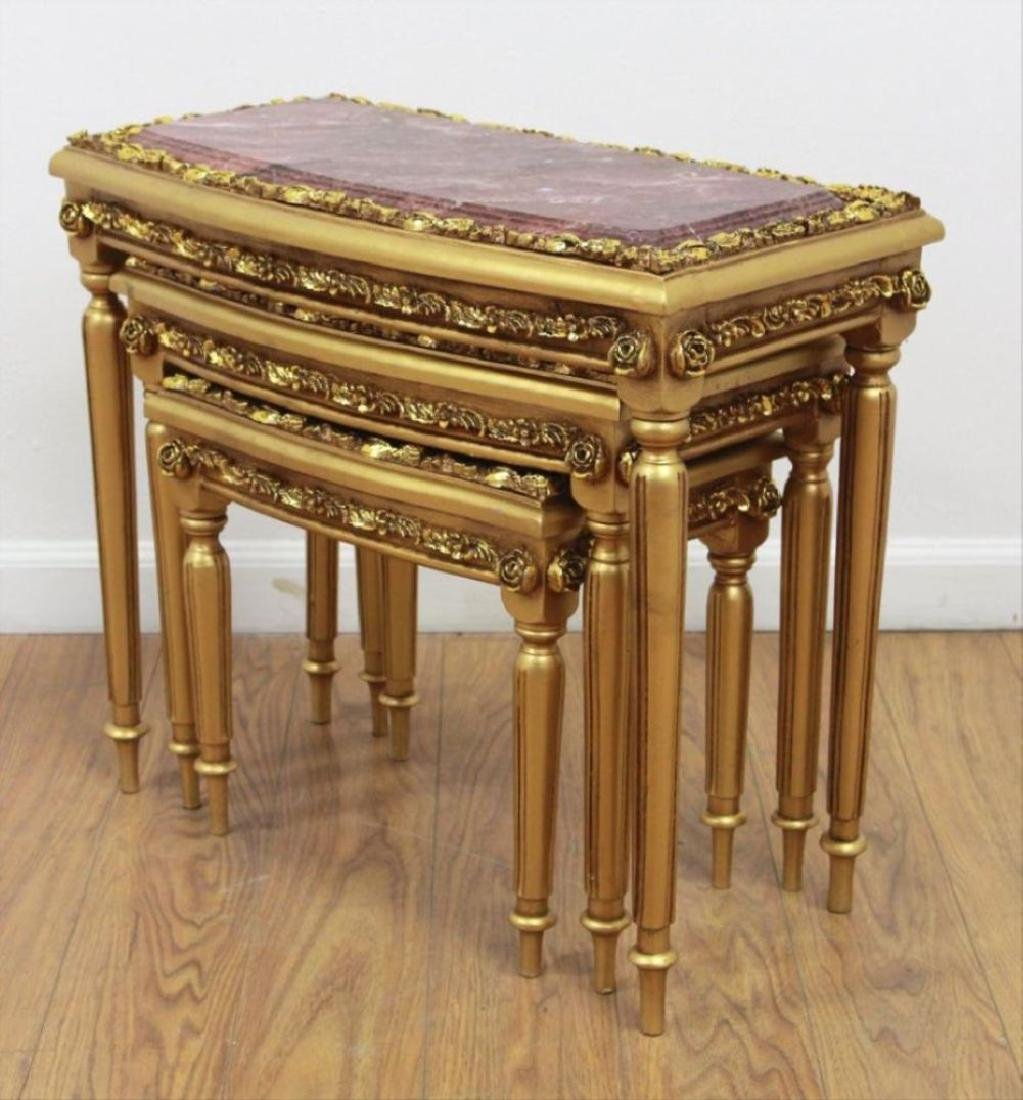 3 Marble & Gold Leaf Nesting Tables - 3