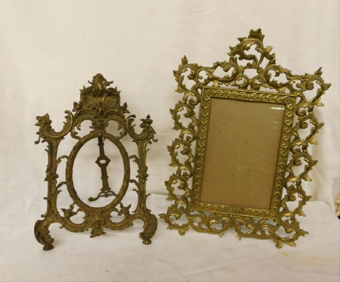2 Vintage Brass Table Top Picture Frames