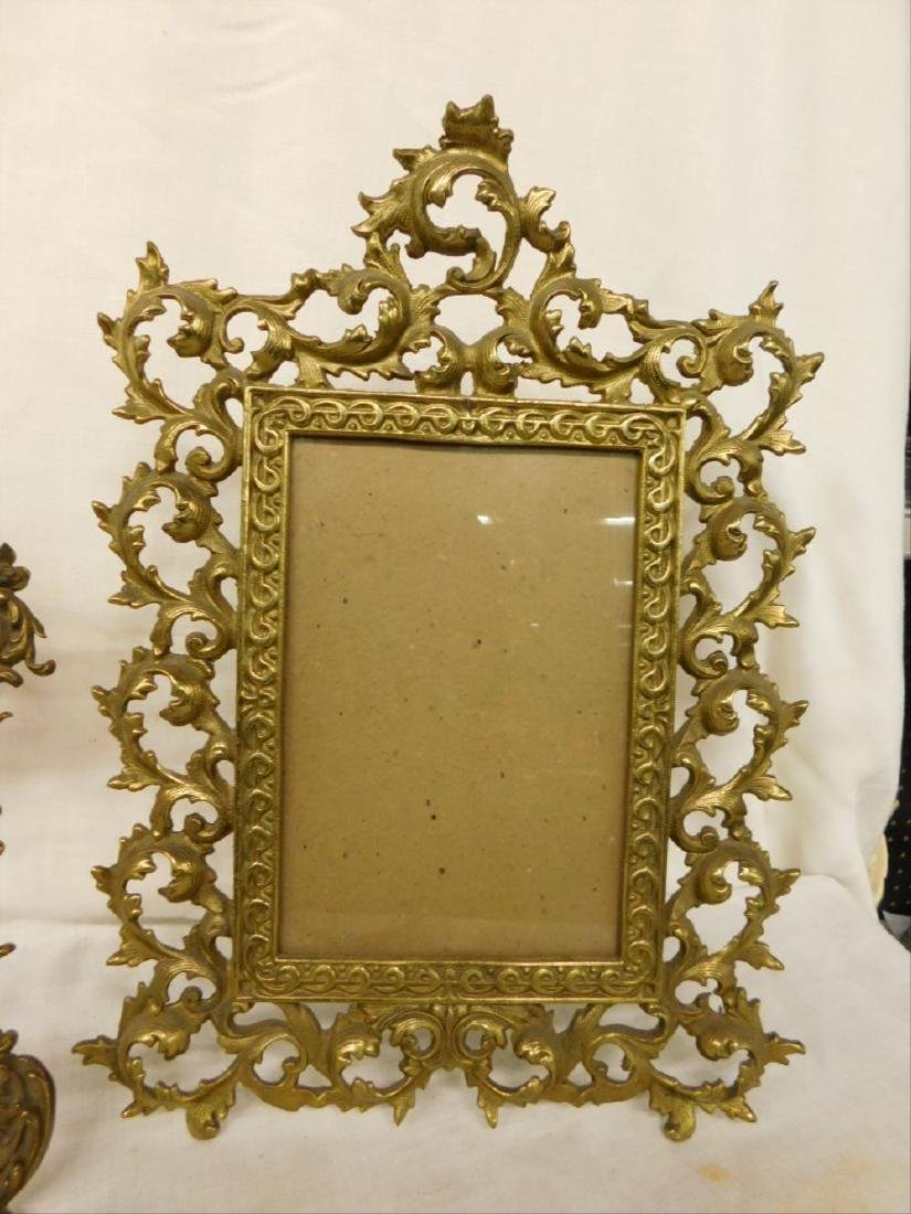 2 Vintage Brass Table Top Picture Frames - 2