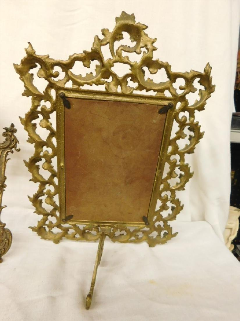 2 Vintage Brass Table Top Picture Frames - 3