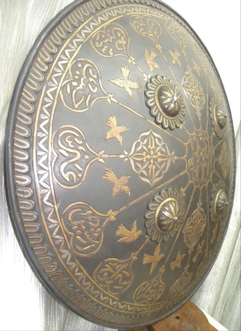 Antique Persian Mughal Warrior Shield 16 Bird & Arabic - 2