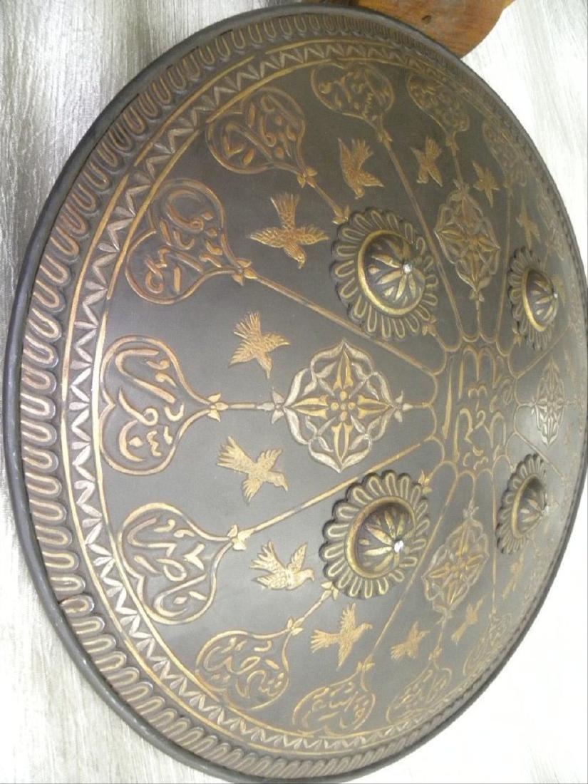 Antique Persian Mughal Warrior Shield 16 Bird & Arabic - 3