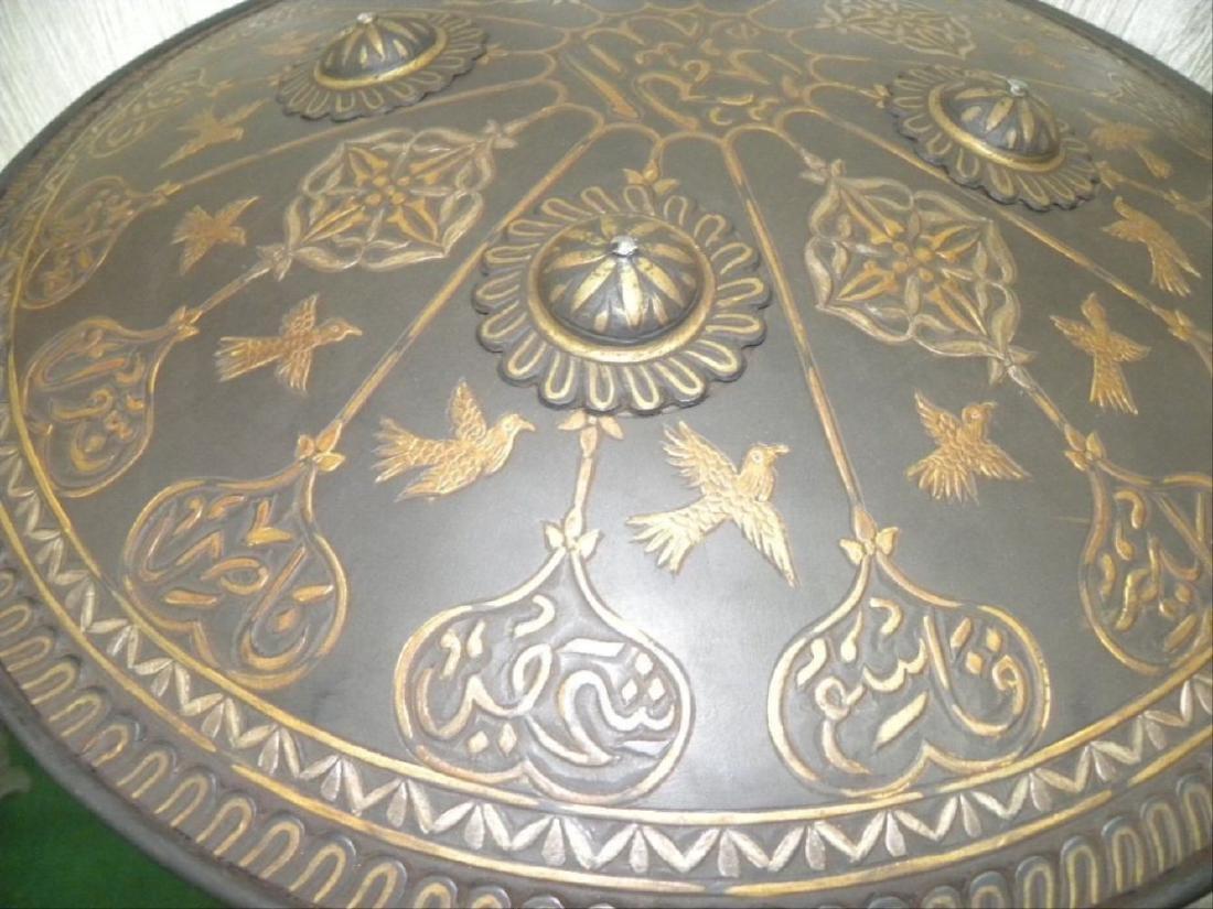 Antique Persian Mughal Warrior Shield 16 Bird & Arabic - 4